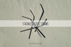 stainless steel straws with text overlay