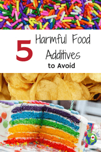 brightly colored sprinkles and cake sitting alongside potato chips all of which contain harmful ingredients