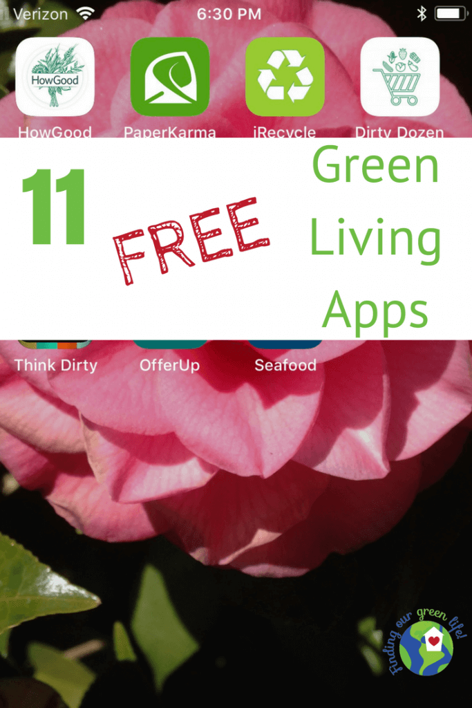 iPhone screen showcasing green living apps