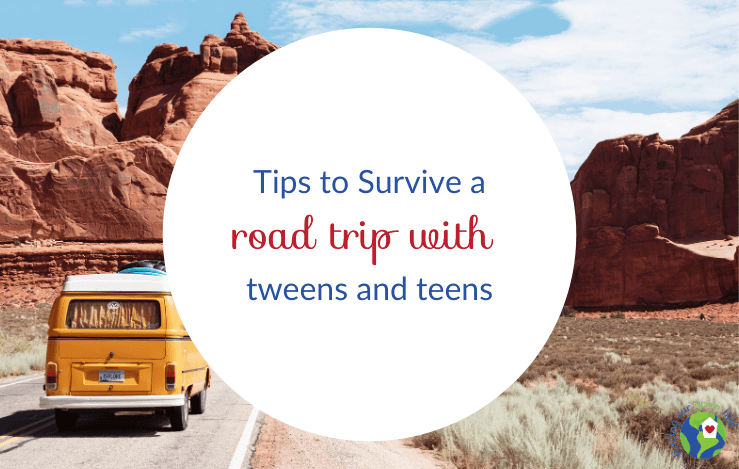 vw van driving in desert with tips to survive a road trip with tweens text overlay