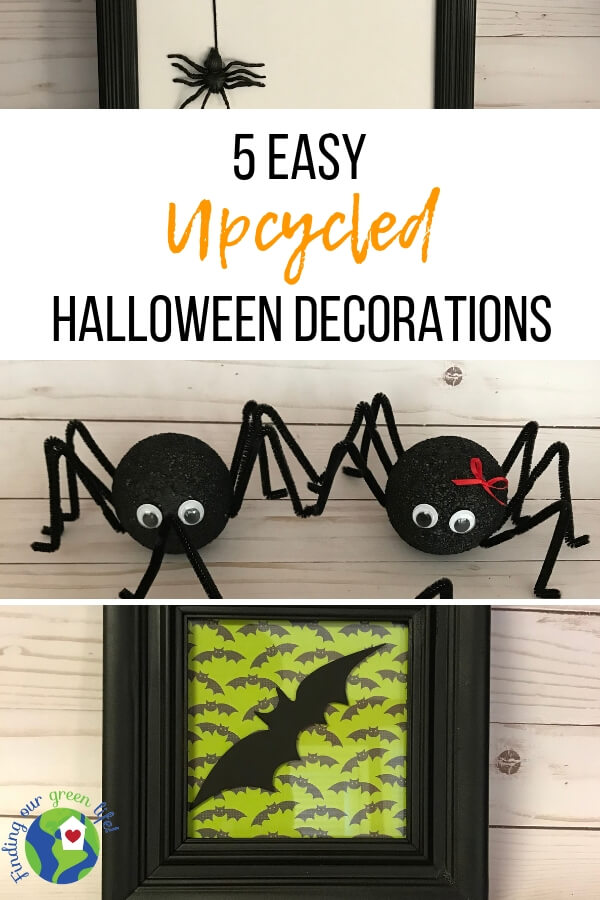 upcycled Halloween decorations with text overlay