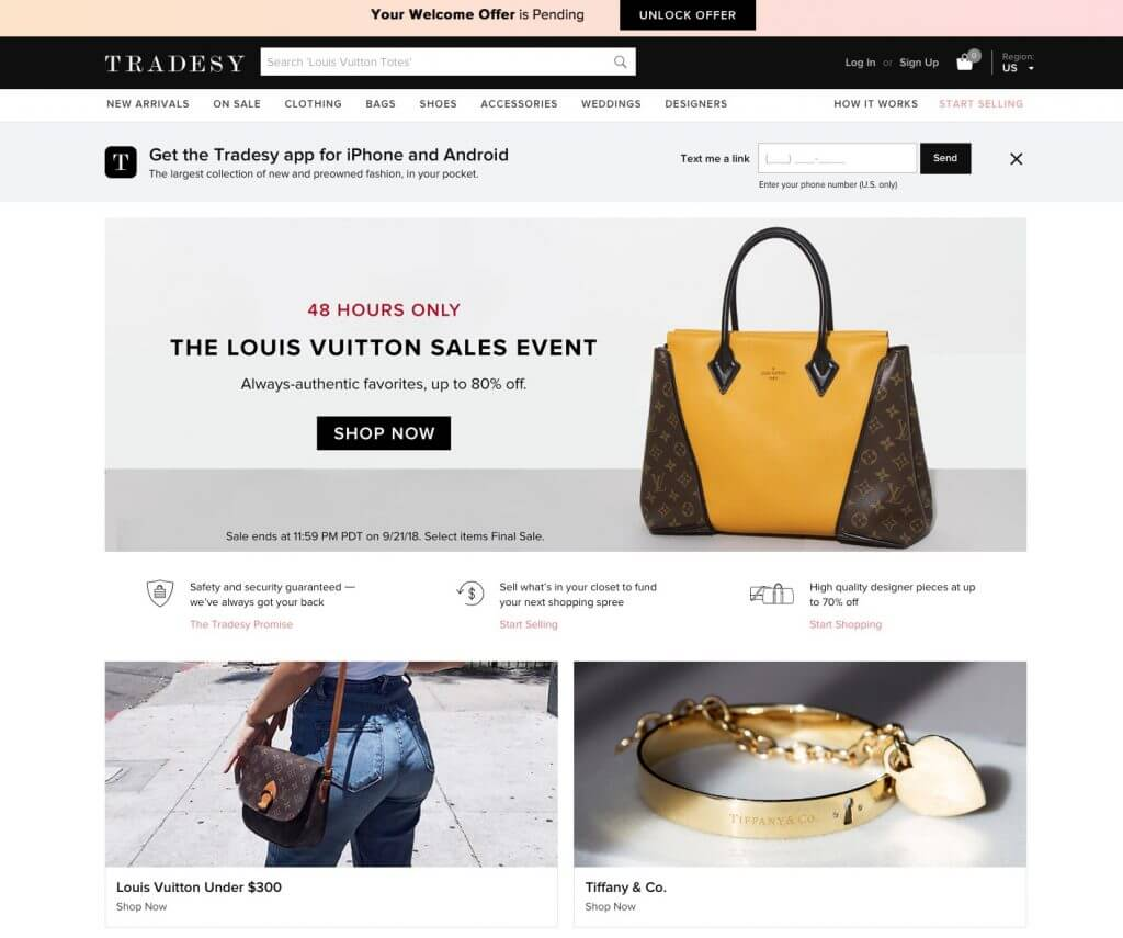 screenshot of Tradesy website