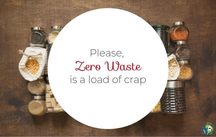 Zero waste lifestyle text with glass jars, tin cans, burlap bags