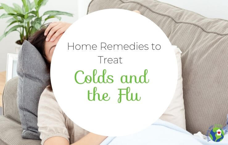 sick woman laying on couch with home remedies for colds and flu