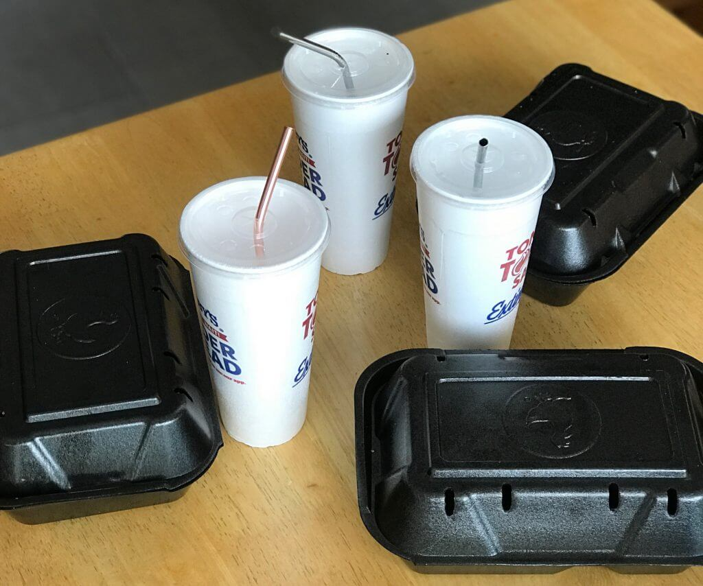 styrofoam cups and food containers