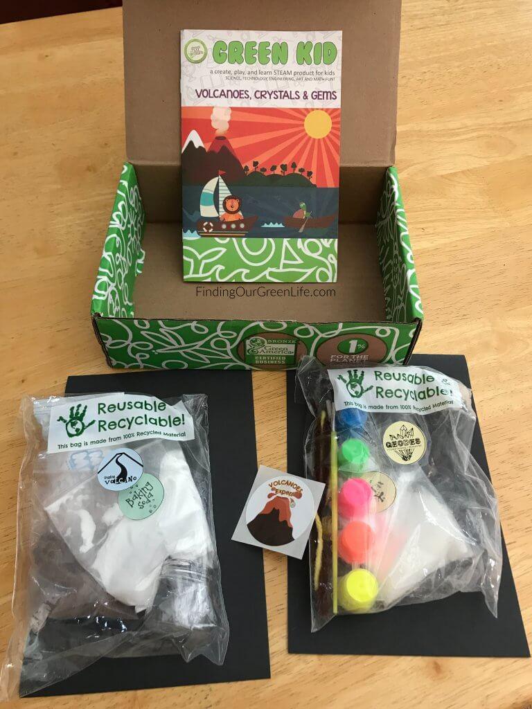 Green Kid Crafts Volcano Box contents