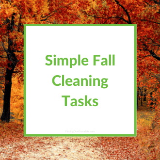 fall colored leaves with simple fall cleaning tasks text overlay