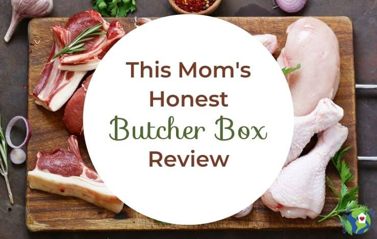 wood board with raw meat and mom's honest butcher box review text overlay