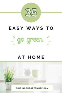 plant in silver pot with towels and easy ways to go green at home text overlay