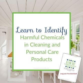 kitchen with how to identify harmful chemicals in cleaning and personal care products text overlay
