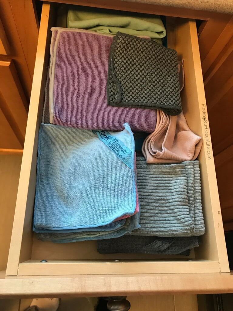 drawer with Norwex cloths in it