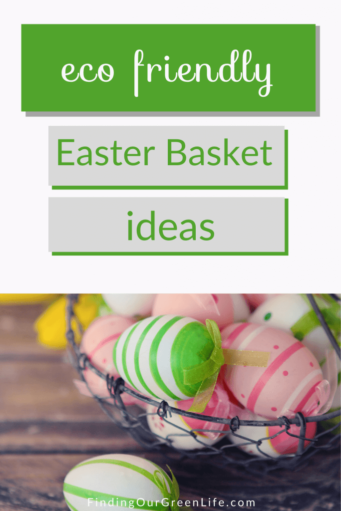 eco friendly easter basket filled with colorfully decorated easter eggs