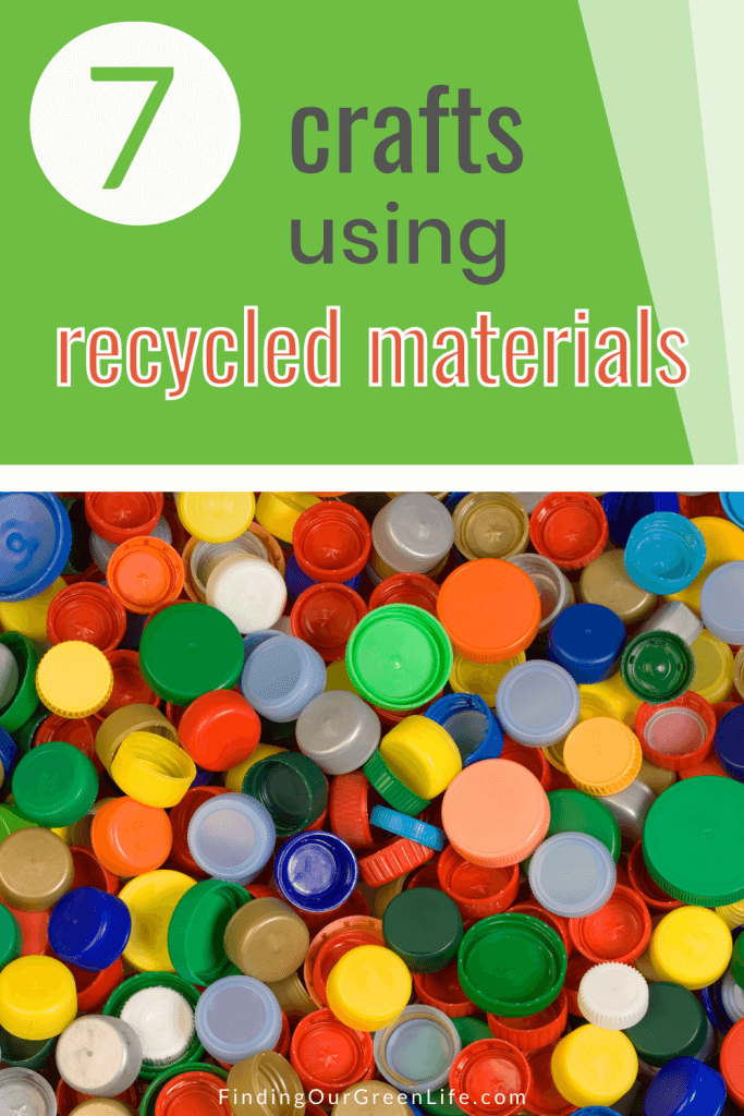 bottle caps with crafts using recycled materials text overlay